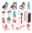 blood donor isometric set vector image vector image