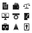 bureaucracy icons set simple style vector image vector image