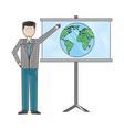 businessman showing presentation board world vector image
