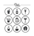 coffee tea icons alcohol drinks signs vector image