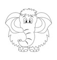 colorless funny cartoon mammoth vector image vector image
