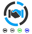 cooperation handshake diagram flat icon vector image vector image