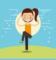 cute girl making stretching sport vector image vector image