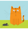 Cute red orange cartoon cat looking at mouse Big vector image vector image