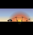 electric vehicle at sunrise vector image