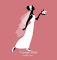elegant bride dressed in vintage style wedding vector image