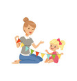 elementary teacher and little girl sitting on the vector image vector image