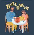 father and daughter is carving pumpkins vector image