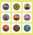 flat icons set of cracked earth and dog concept on vector image vector image