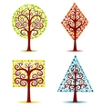 four geometrical trees vector image vector image
