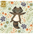 funny little raccoon resting on meadow vector image vector image