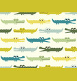 green and blue cute crocodile cartoon pattern vector image