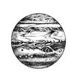 hand drawn planet jupiter vector image vector image
