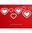 Hanging valentines hearts vector image vector image