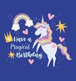 happy birthday unicorn cartoon rainbow hearts vector image vector image