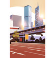 highway road to city skyline with modern vector image vector image