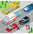Isometric City Car Accident with Ambulance vector image vector image