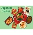 Japanese cuisine spicy dinner dishes icon vector image vector image
