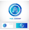 Letter A blue circle abstract logo vector image vector image