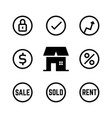 linear icons for real estate agency vector image