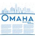 outline omaha nebraska city skyline with blue vector image