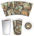 paper cup for hot drink with postage stamps vector image vector image