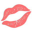 Pink Lipstick Print on white vector image