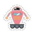 pink robot artificial intelligence cutting line vector image vector image