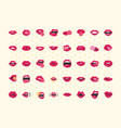 pop art mouth and lips comic female lips set vector image