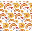 retro floral doodle pattern flowers background vector image
