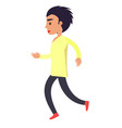 running man in yellow shirt and black trousers on vector image vector image