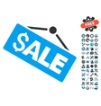 Sale Signboard Flat Icon With Tools Bonus vector image