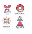 set of 4 abstract logos for beauty salon vector image vector image