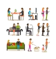 set of people with modern gadgets flat vector image vector image