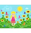 Small girl on the field among sunflowers vector image
