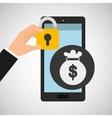 smartphone bag money security vector image vector image