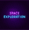 space exploration text neon label vector image