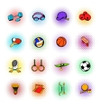 Sports equipment icons set comics style vector image vector image