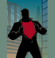 superhero under cover casual in city silhouette vector image vector image