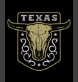 texas vintage emblem with bull skull on a dark vector image