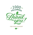 Thank you 2000 followers card ecology vector image vector image