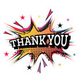 thank you word comic text in pop art style vector image