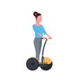 woman riding gyroscooter over white background vector image