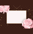 abstract empty frame roth rose background vector image vector image