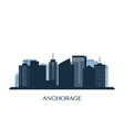anchorage skyline monochrome silhouette vector image vector image