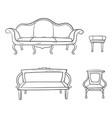 Antique furniture set - chair couch sofa chair