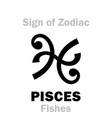 astrology sign of zodiac pisces the fishes vector image vector image