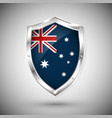 australia flag on metal shiny shield collection vector image vector image