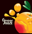 banner for orange juice with orange fruit vector image