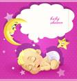 bashower pink card with sleeping newborn baby vector image